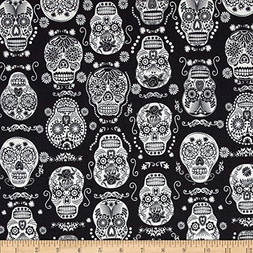 Timeless Treasures 0397881 Glow in the Dark Skulls Black Fabric by the Yard for $<!--$11.72-->