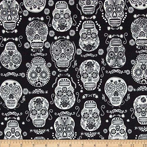 Timeless Treasures 0397881 Glow in The Dark Skulls Black Fabric by The Yard,