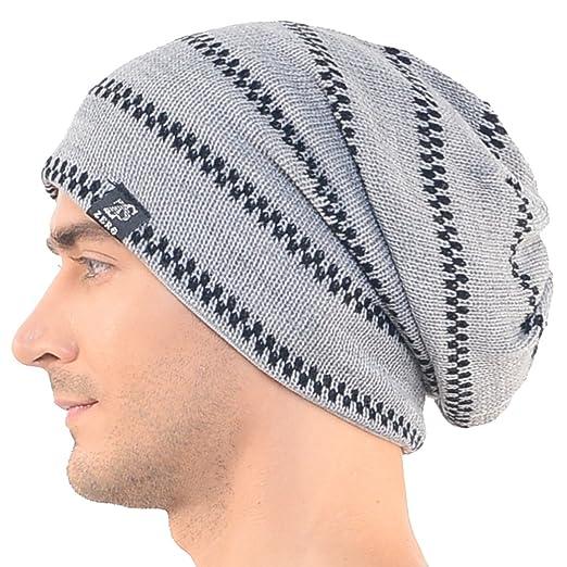 Stylish Mens Gray Slouchy Beanie Long Knit Cap Skull Hat At Amazon