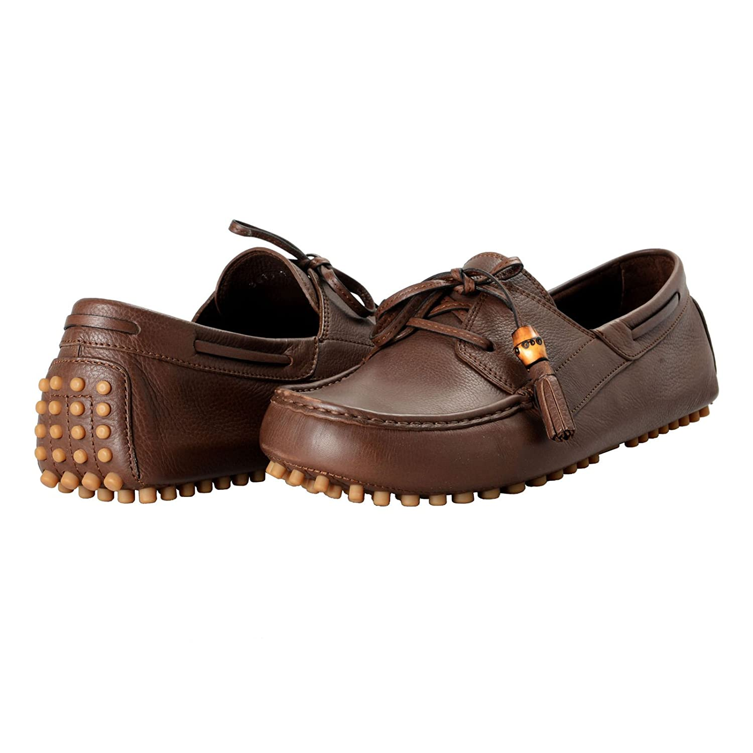 f80dc821c Amazon.com: Gucci Men's Brown Leather Moccasins Slip On Driving Shoes Sz US  11.5 IT 9.5 EU 44.5: Shoes