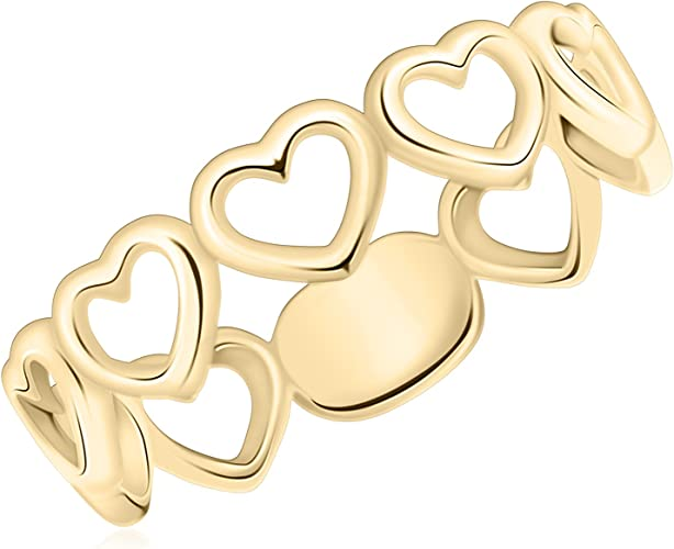 UNICORNJ 14K Yellow Gold Multiple Hearts Ring Italy