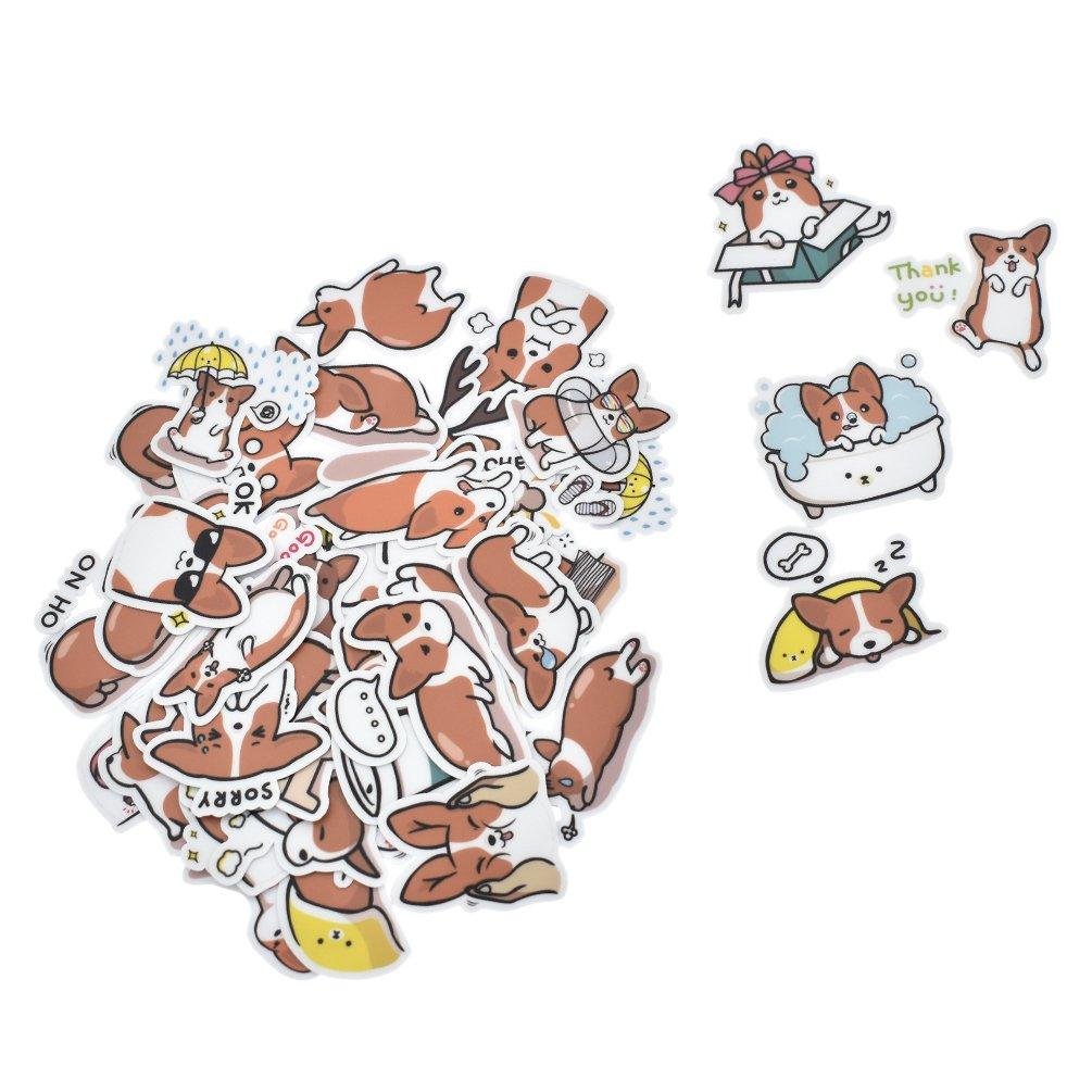 Hongma 40 Pcs Sticker Chien Welsh Corgi Mignon Autocollant Cartoon Kawaii Scrapbooking