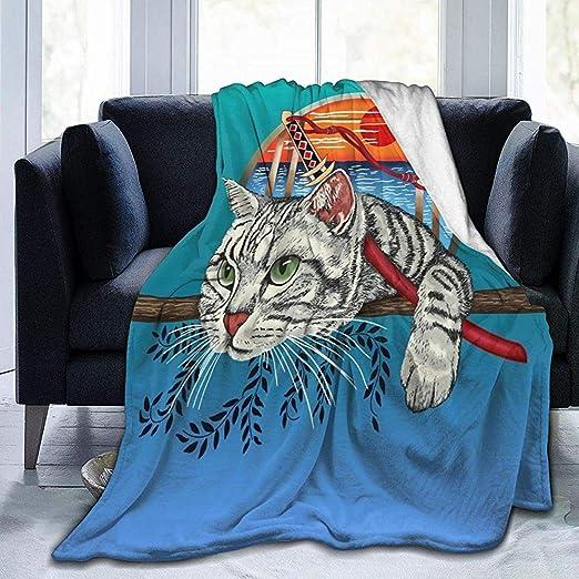 Ace Mate Manta Ninja Cat Cool Graphic Fleece Blanket Throw ...