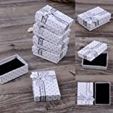 5 x Boîtes cadeaux pour nœud papillon, bijoux, boîtes de rangement pour boucles d'oreilles bracelet bague collier, blanc - Bluelans®.