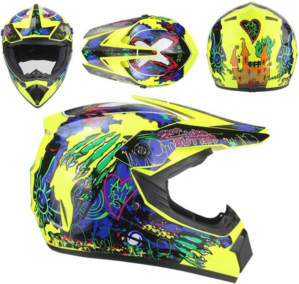 QYWSJ Ensemble Casque DH de Motocross,avec des Lunettes,des Gants,Un Masque,Le Visage Int/éGral du Casque de Moto V/éLo Descente Dirt Bike MX ATV pour Les Hommes Adultes,Plusieurs Styles