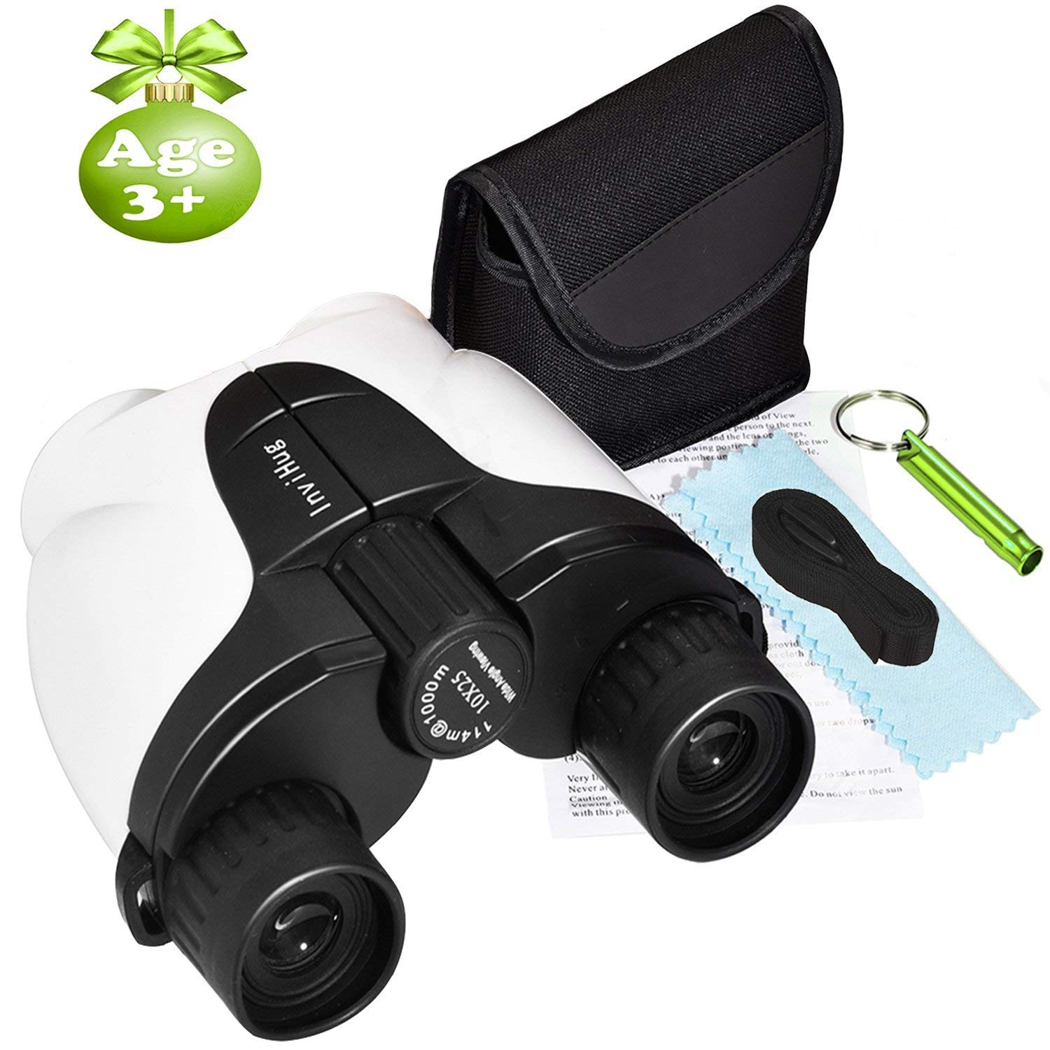 Petask Kids Binoculars, 10x25 Compact Outdoor Binocs Toys with Weak Light Night Vision for Bird Watching, Camping, Hunting