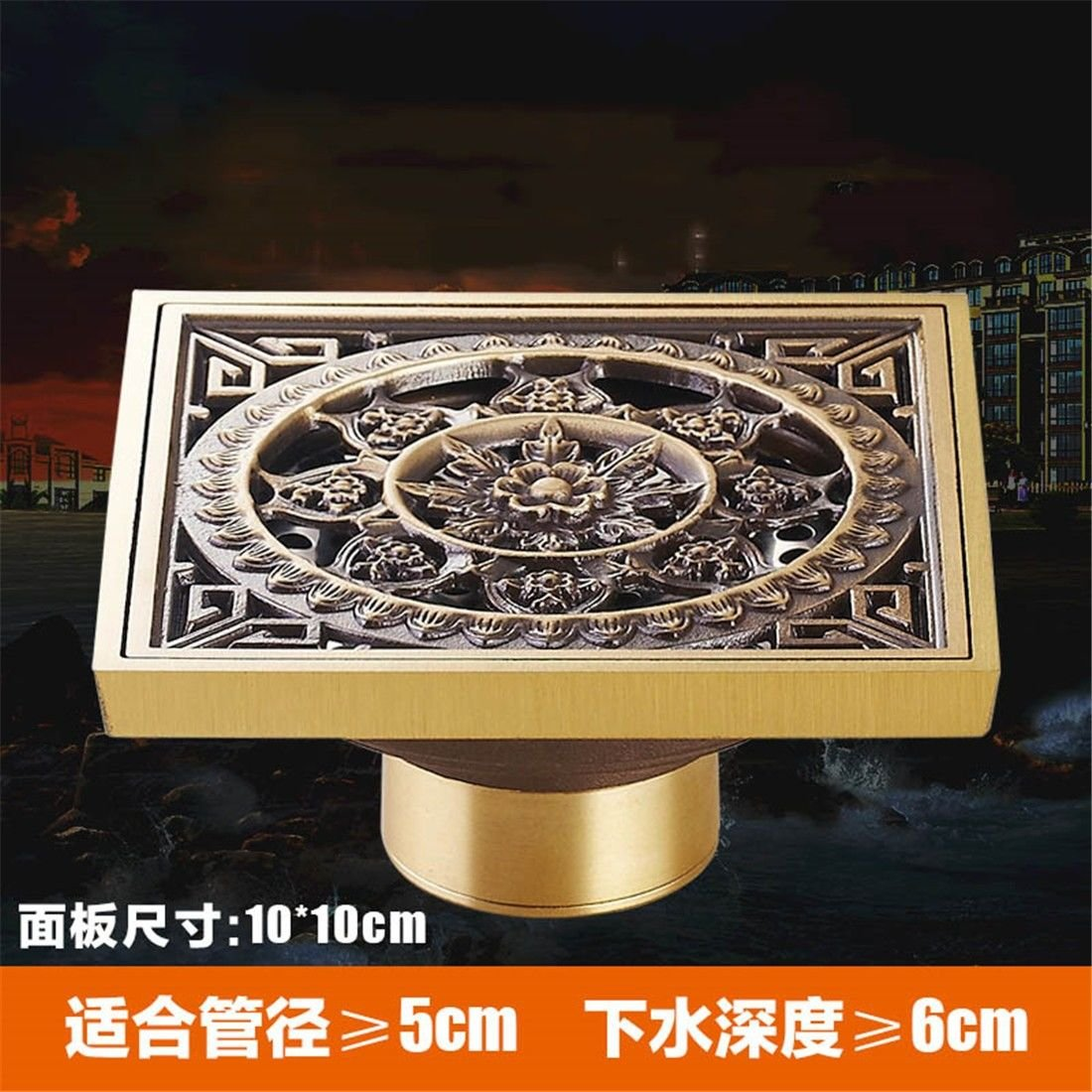 LINA bathroom accessories Antique Copper floor drain anti-smelly copper floor drain core toilet washing Machine special drainage, F