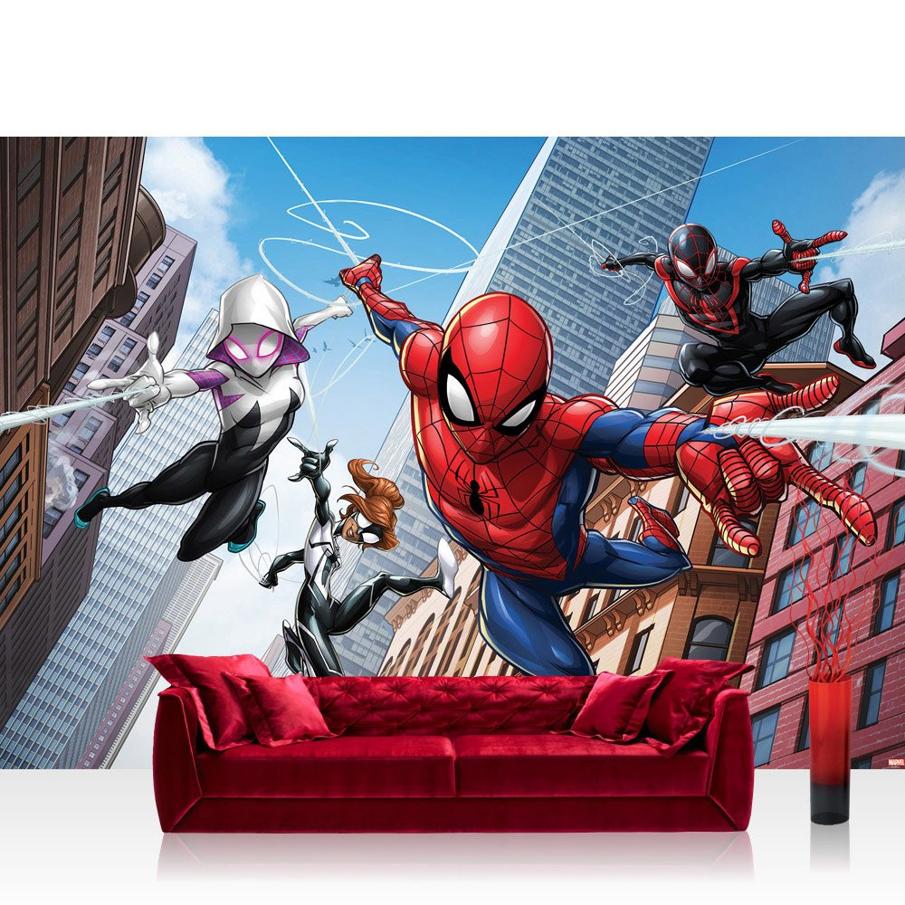 Vlies Fototapete 368x254cm PREMIUM PLUS Wand Foto Tapete Wand Bild Vliestapete - Marvel - SPIDERMAN Tapete Marvel Spiderman Cartoon bunt - no. 3376