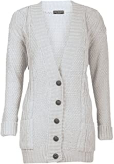 042ff3d9ec Forever Womens Long Sleeves Plus Size Cable Knitted Grandad Button Cardigan