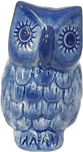 Ceramic Figurine Dollhouse owl Delft Blue White Collectible Miniature Bonsai Garden Handmade Painted Gift no 1