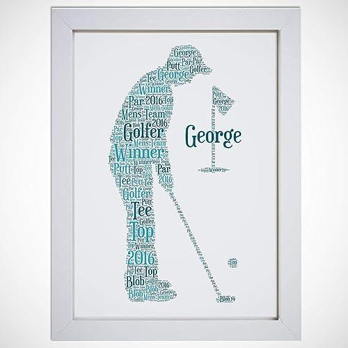 Personalised Golfer Golf Birthday Word Art Print - A5, A4 Prints ...