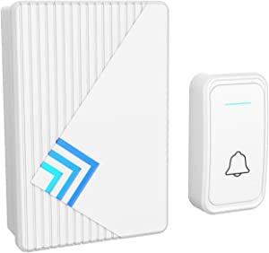 Stalwart A200031 Doorbell – Wireless Electronic Battery Operated Alert System with LED Indicator, 80 Meter Range, 38 Chimes and 3 Volume Control Settings