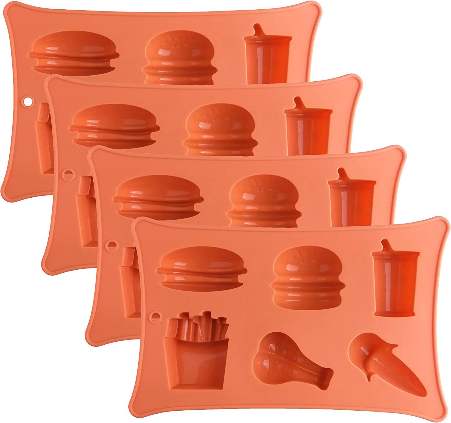 Large Sized Silicone Candy Gummy Molds: Silicon Baking Mold for Candy, Chocolate, Keto Fat Bombs, Jello, Ice Cube - Tray with Burger, Hotdog, French Fries, Drinks, Chicken Leg, Ice Cream (Set of 4)