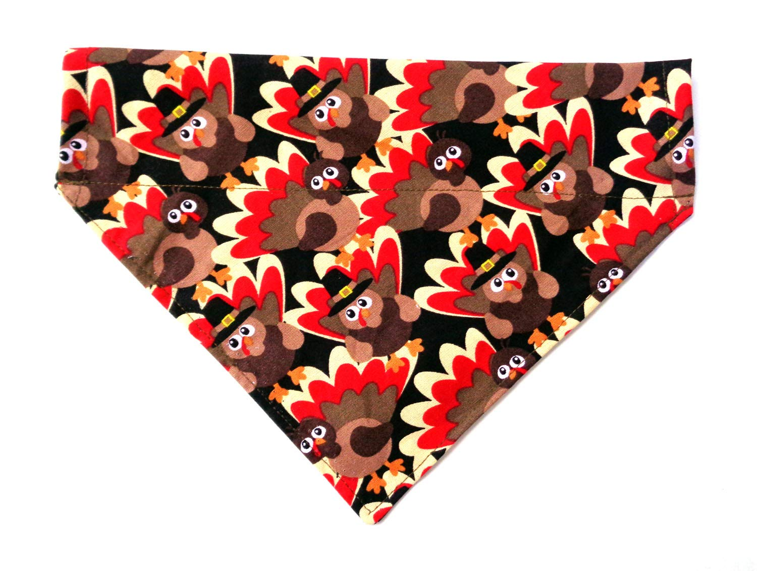 Reversible Thanksgiving Turkey Prints Holiday Dog Bandanna, Over the Collar Slip Through Thread Thru No-Tie Petwear Neckwear