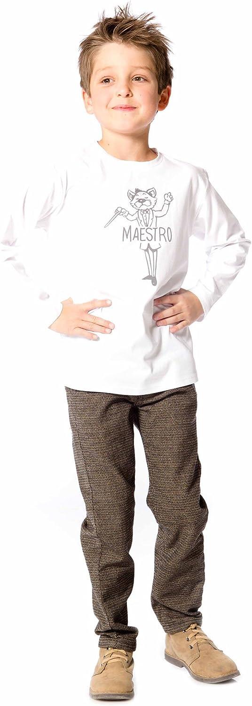 Deux par Deux Boys White T-Shirt with Print Maestro! Sizes 18M-12