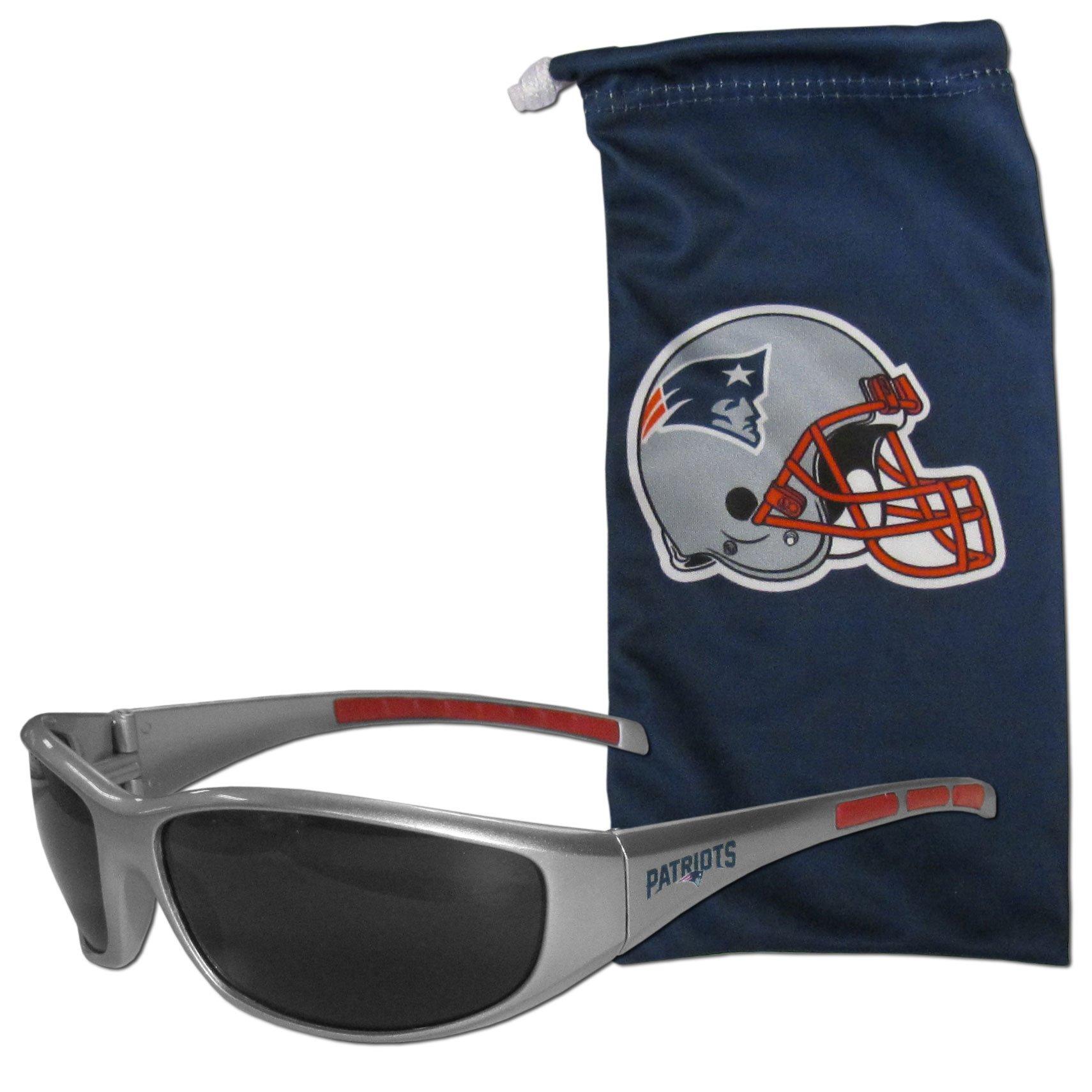 NFL New England Patriots Adult Sunglass and Bag Set, Blue
