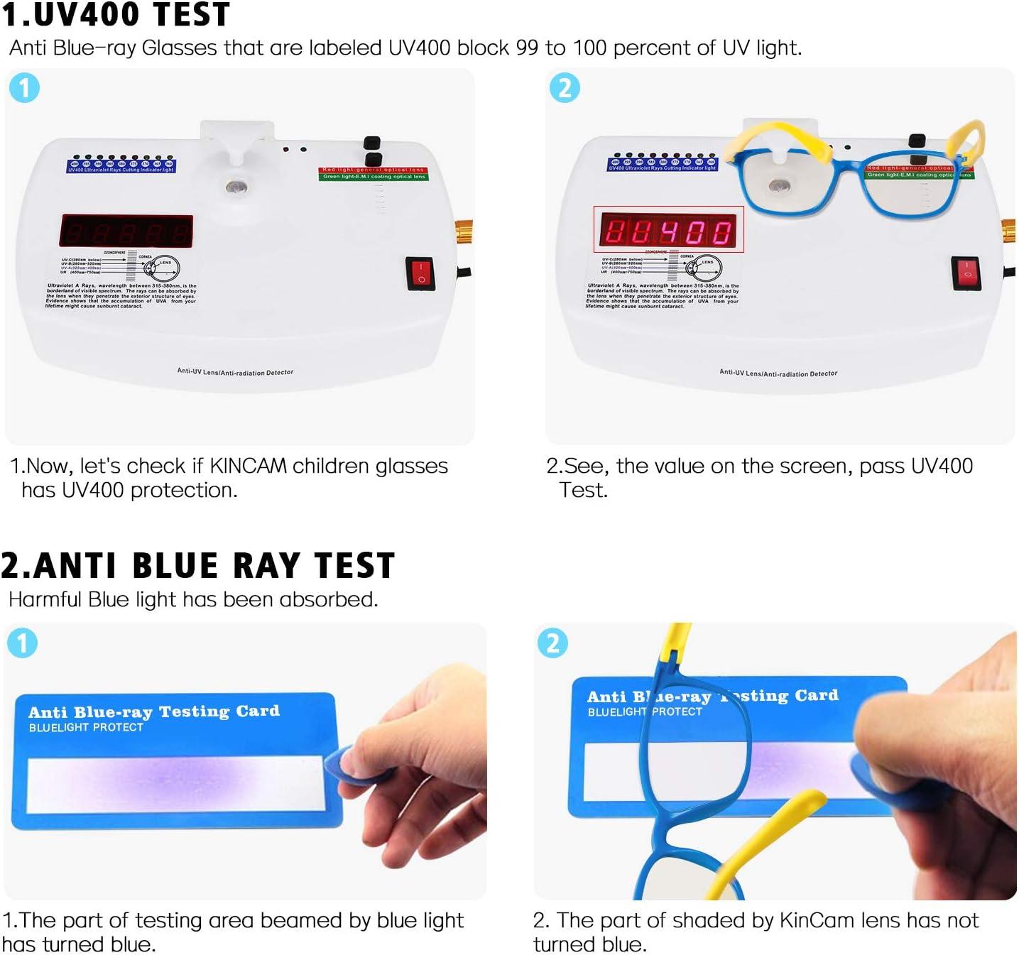 KinCam Kids Blue Light Blocking Glasses Anti Glare Lens Lightweight Frame Computer Eyeglasses for Boys and Girls