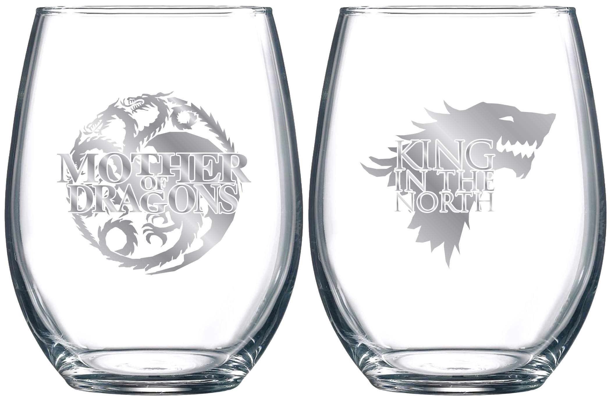 Game of Thrones Collectible Wine Glass Set (Mother of Dragons/King In The North) by Game of Thrones (Image #1)