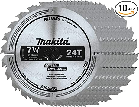 Makita D 45989 10 7 1 4 24t Carbide Tipped Circular Saw Blade Framing General Purpose 10 Pk Power Circular Saws Amazon Com