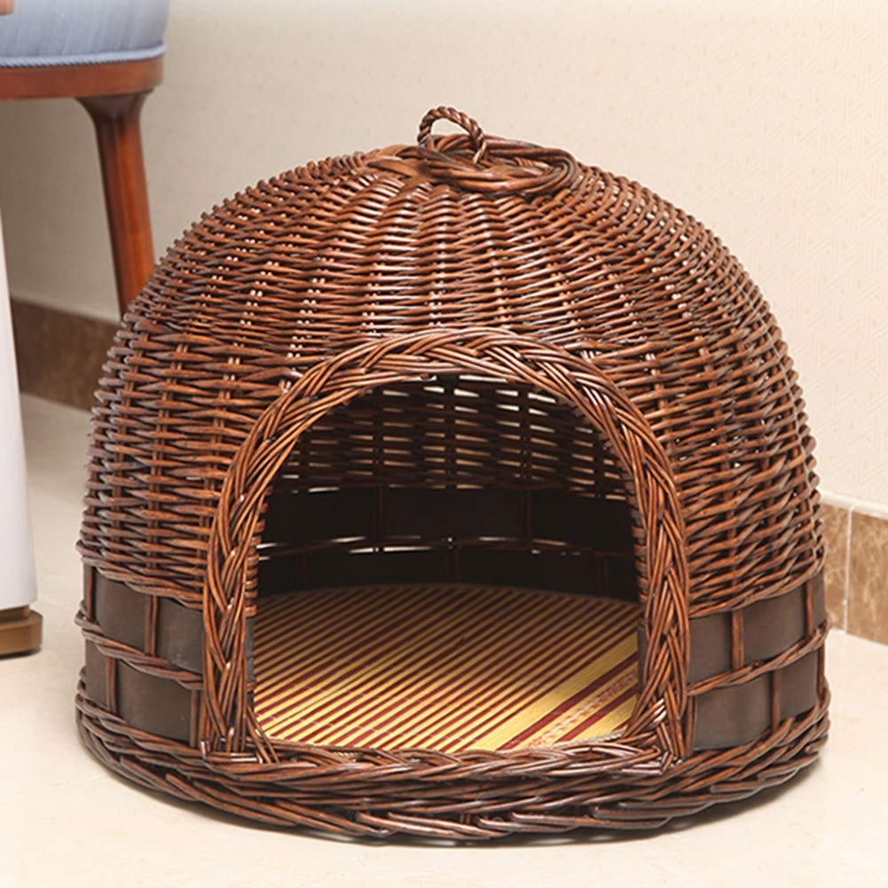 Coffeecolor Small Coffeecolor Small YANGYONGLI Pet Bed Dog Beds Sleeping Bag Cat Beds Pet House Rattan Summer Manual Environmental Predection Closed Wicker,coffeecolor,small