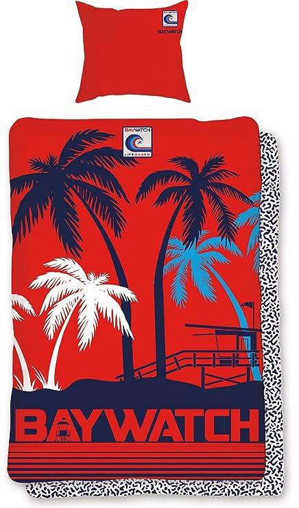 Juego de ropa de cama Baywatch Lifeguard Rojo Azul flotador salvavidas de Malibu 2tlg aspecto Reversible
