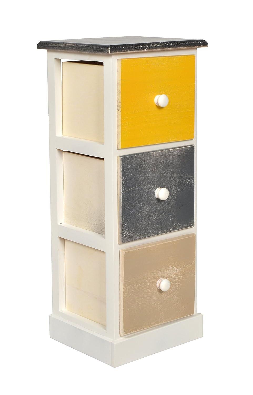 ts-ideen Casa di campagna Cassettiera Legno con 3 cassetti Scaffale Shabby usato look Multicolore 60 cm