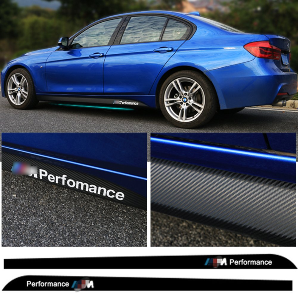Amazon com deleika bmw special car decal carbon fiber pattern 2 x 2 15m sport m performance carbon fiber side skirt decal stripe sticker for bmw 1 3 4 5 6