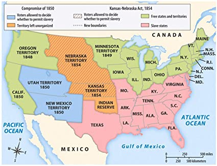 Amazon.com: Home Comforts Laminated Map - Southern Map The Us 1850 ...