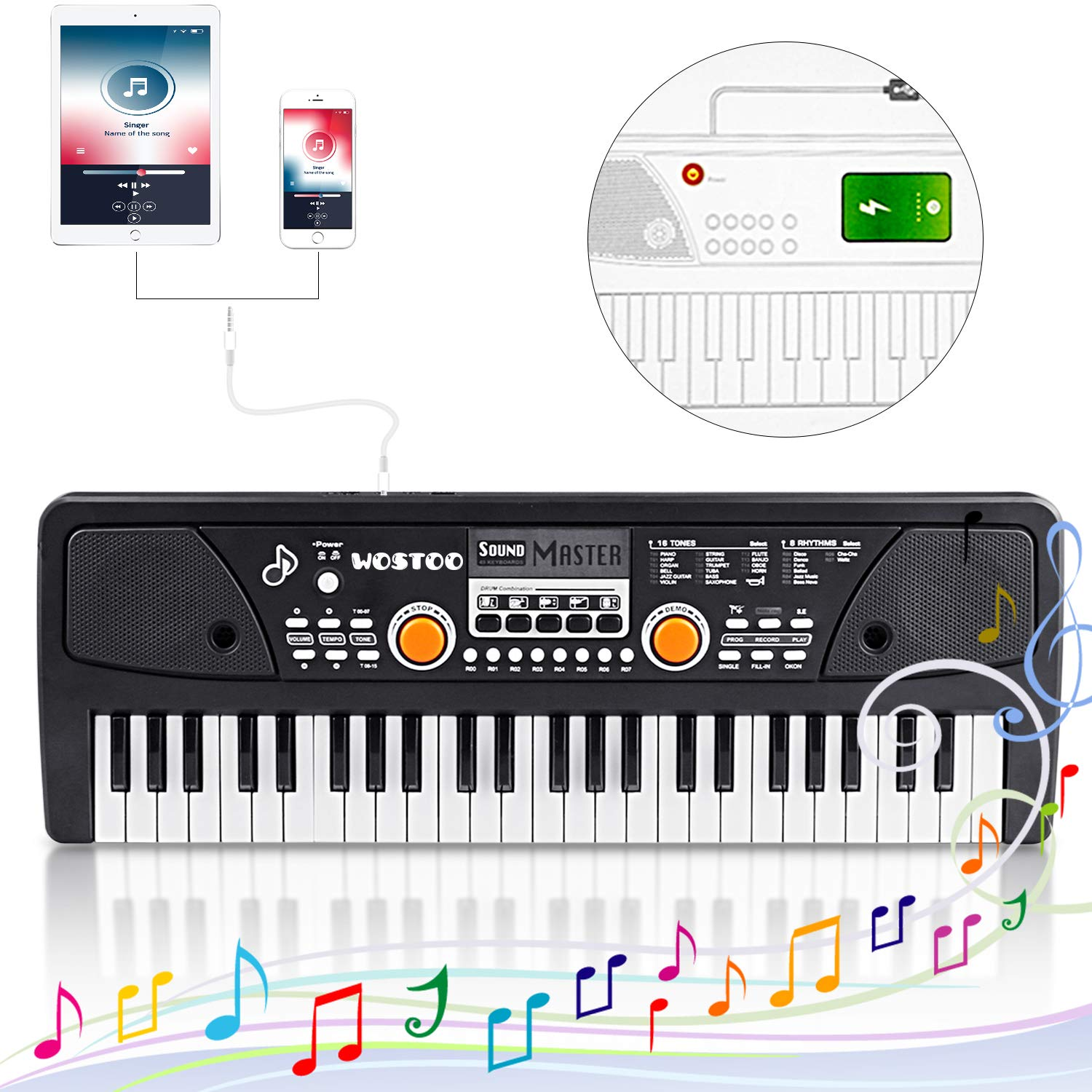 Kids Piano Keyboard 49 Keys- Multi-function Portable Piano Keyboard Electronic Organ with Charging function for Kids and Beginners Chargeable by Tencoz