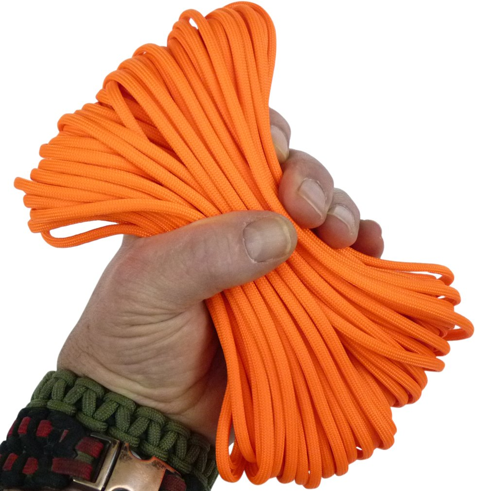 Paracord 80'S Neon Orange 100 ft. Hank, 7 Internal Strands, 550 Lb. Break Strength.  Military Survival Parachute Cord for Bracelets & Projects.  Guaranteed Made In US.  Includes 2 eBooks. by Dakota Gear (TM) (Image #1)