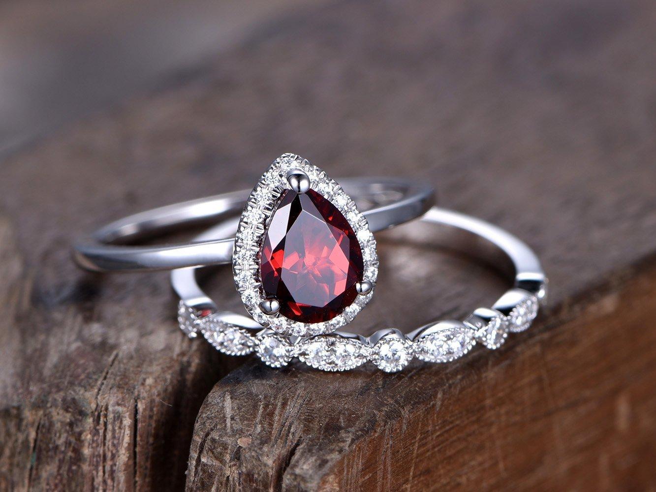 2pcs Wedding Ring Set,6x8mm Red Garnet Engagement Ring,Birthstone Ring,Plain Gold Band,White Gold Plated,Art Deco Wedding Band,Sterling Silver Bridal Set