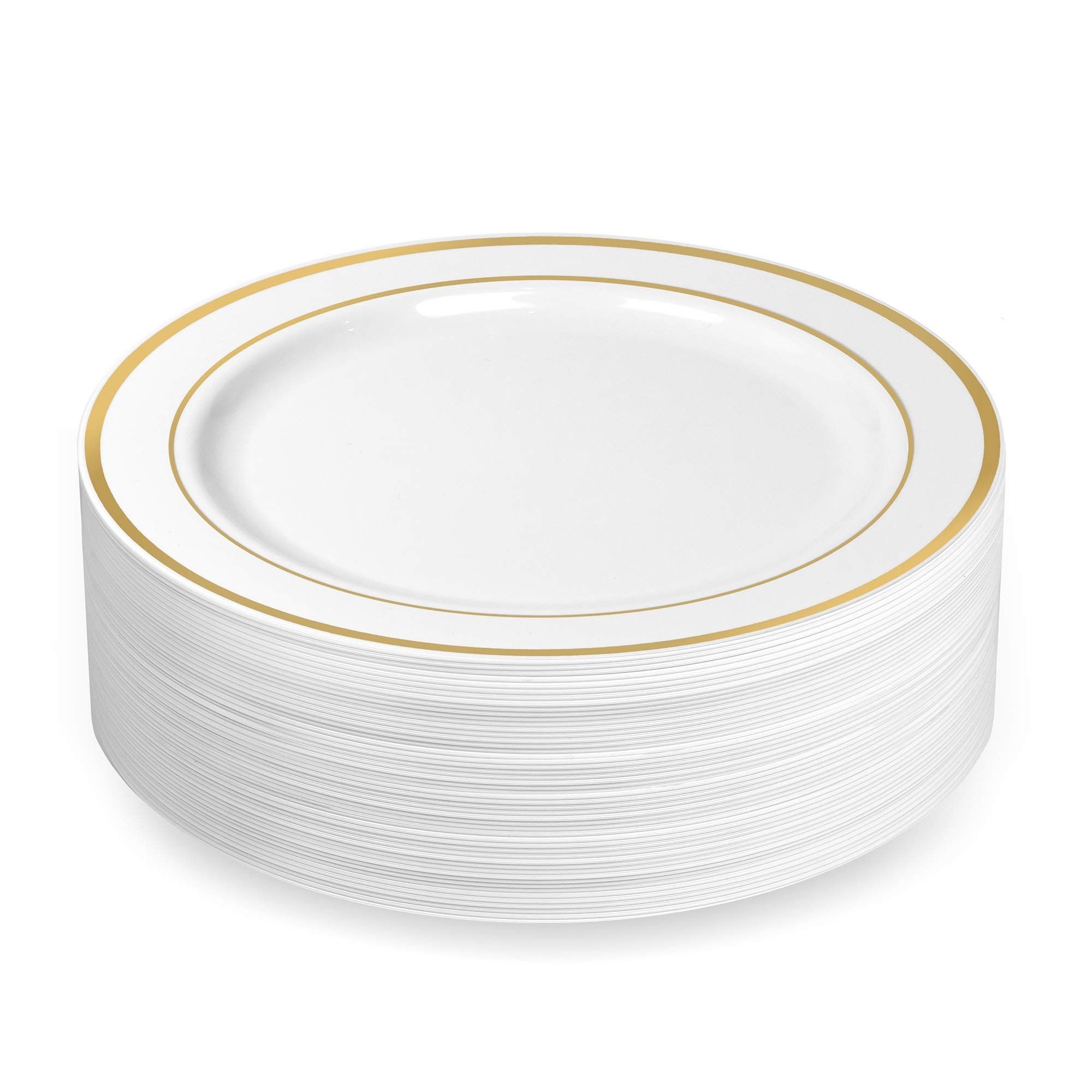 50 Plastic Disposable Dinner Plates | 10.25 inches White with Gold Rim Real China Look | Ideal for Weddings, Parties, Catering | Heavy Duty & Non Toxic (50-Pack) by BloominGoods