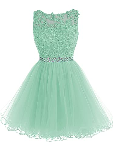 Tideclothes Short Beaded Prom Dress Tulle Applique Evening Dress