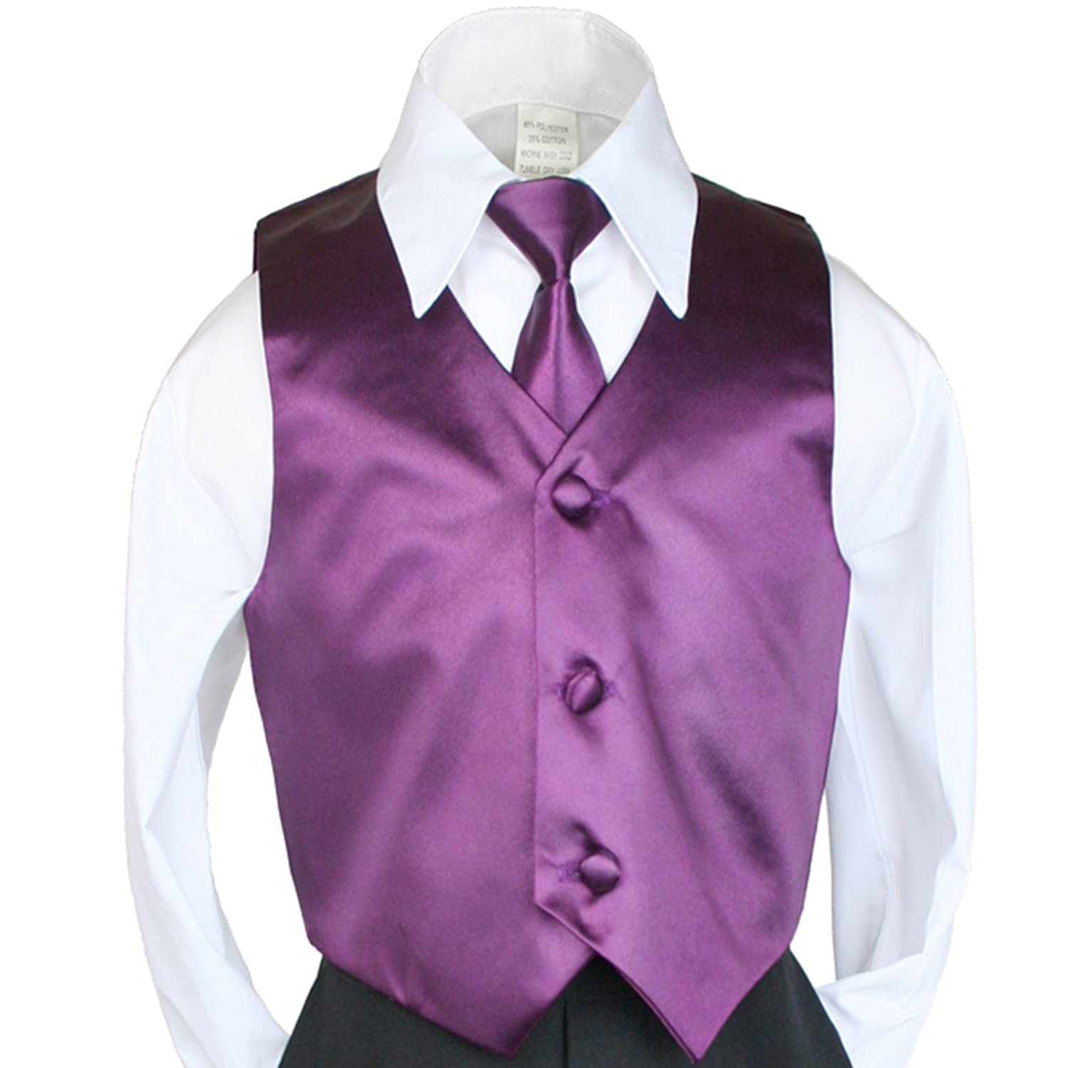2pc Boys Satin Eggplant Vest and Necktie Set from Baby to Teen 4T