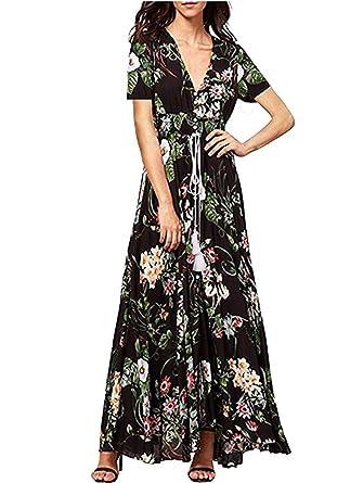 d792c731fa3 TEMOFON Women s Dress Button up Floral Flowy Split Maxi Summer Beach Long Dresses  Black S