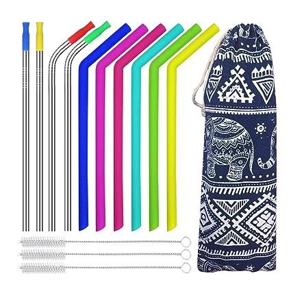 Amazon com: Reusable Straws,Edobil 6 Silicone Straws+4