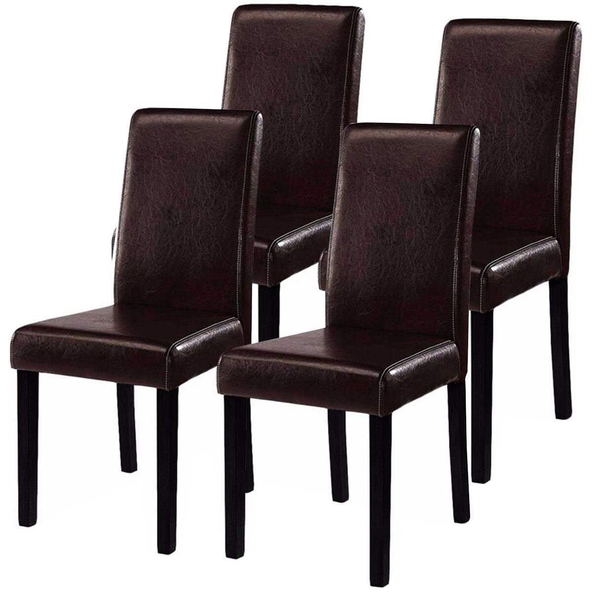 MasterPanel - Set of 4 Elegant Design Leather Contemporary Dining Chairs Home Room #TP3254 by MasterPanel