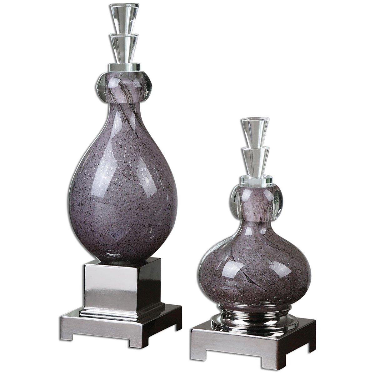 Uttermost 19842 Charoite Glass Bottles (Set of 2), Purple