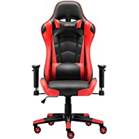 JL Comfurni New Design Gaming Chair Chesterfield Ergonomic Swivel Office Chair High Back Heavy Duty Home Office Computer Desk Chair Faux Leather Recliner Sport Racing Chair (Black -red)