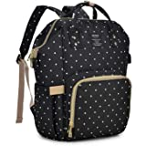 Qimiaobaby Diaper Bag Backpack, baby Nappy storage travel bag,12 colors to choose (Black dots)