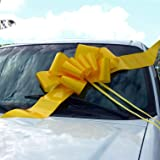 "23"" Yellow Car Bow, Big Support Our Troops Ribbon"