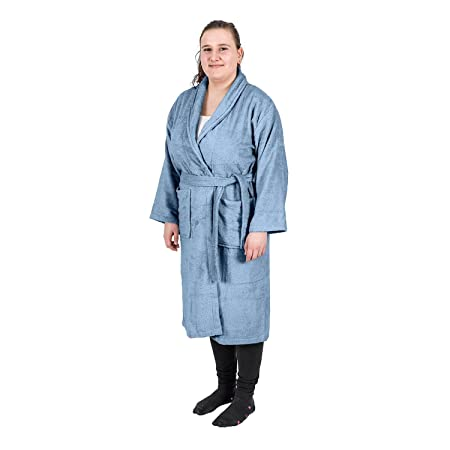 233ccbdaa8 Homescapes Blue Adults Dressing Gown with Shawl Collar 100% Egyptian Cotton  Terry Towelling Unisex Bathrobe