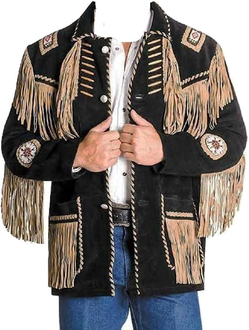 Bestzo Men Western Style Cow Suede Leather Jacket Fringed /& Bones Black XS-5XL