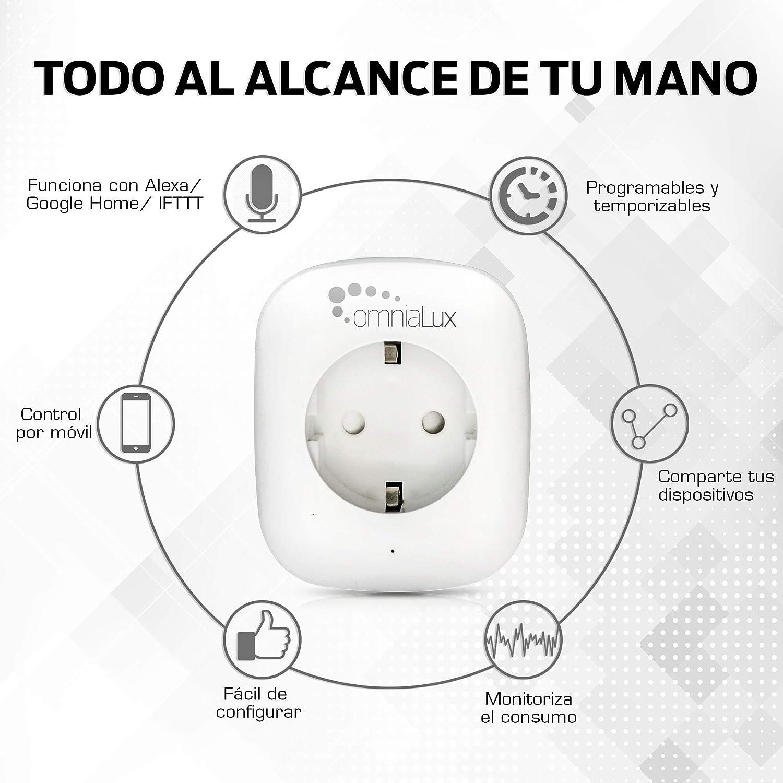 Omnialux P202A-2 Enchufe Inteligente Wifi Z/ócalo blanco programable y monitor de consumo Smart Life Echo google assistant iOS y Android e IFTT Smart plug compatible con Alexa no requiere hub