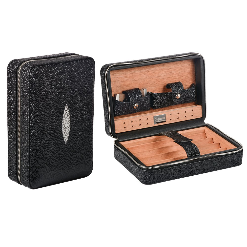 Travel Cigar Humidor, Volenx Leather Cigar Travel Humidor Case with Humidifier & Cutter, Wooden Cigar Box for 4 Cigars(Black)