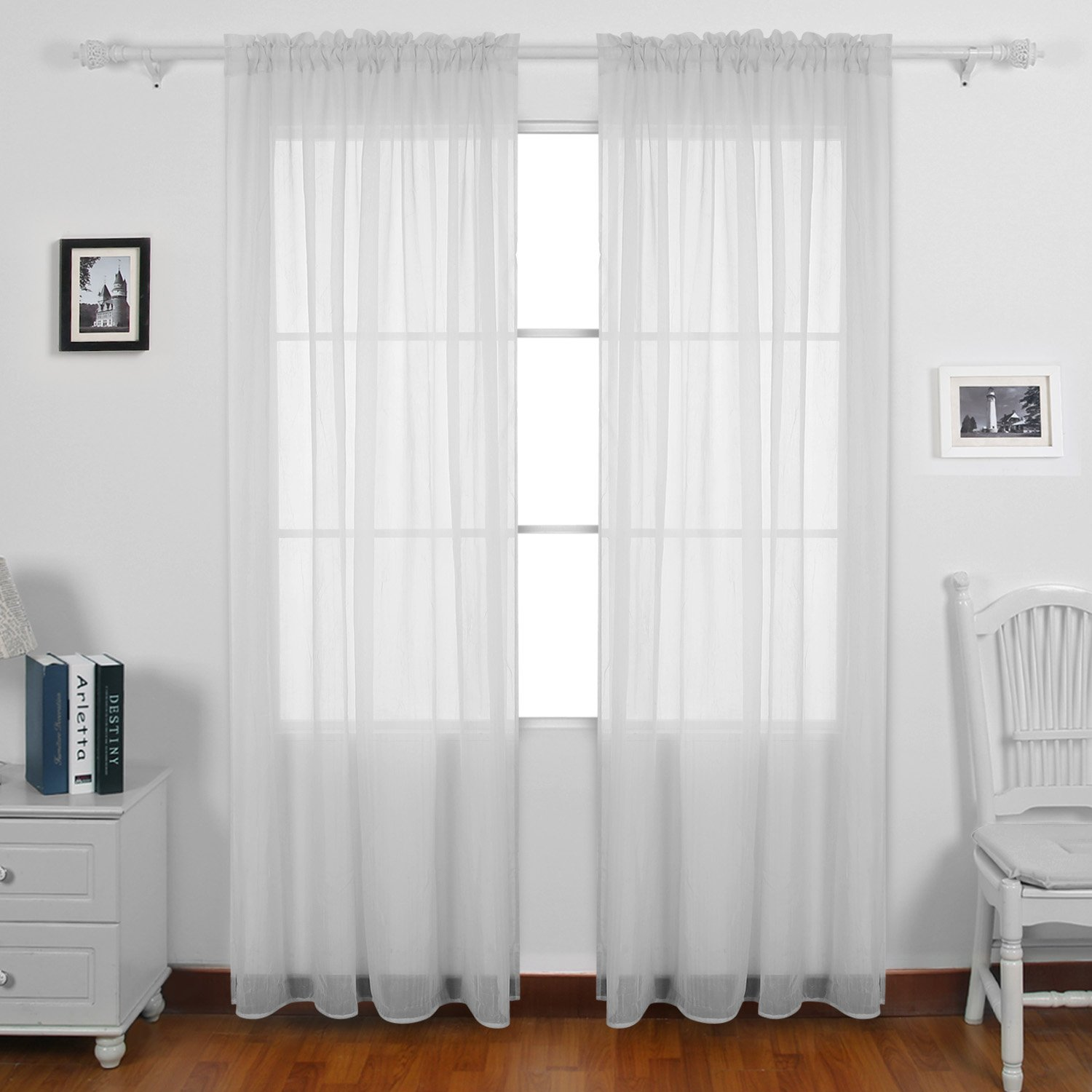 Deconovo Crinkle Sheer Curtains Rod Pocket Voile