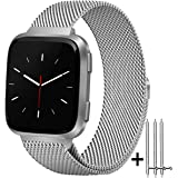 Amzpas for Fitbit Versa Bands Milanese Loop with Magnetic Lock Stainless Steel Metal Mesh Replacement Wristbands for Fitbit Versa