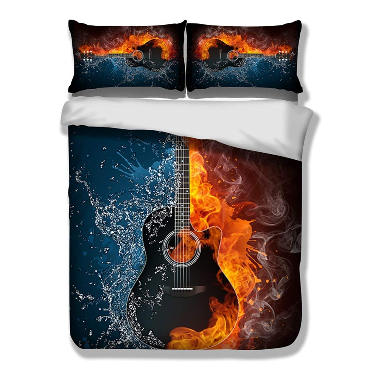 Feelyou Kids Duvet Cover Set Full Size 3D Print Bedding Set for Boys Men Decorative Music Themed Guitar Microfiber Polyester Comforter Cover with 2 Pillow Shams, Zipper Closure, Colorful 3 Pieces
