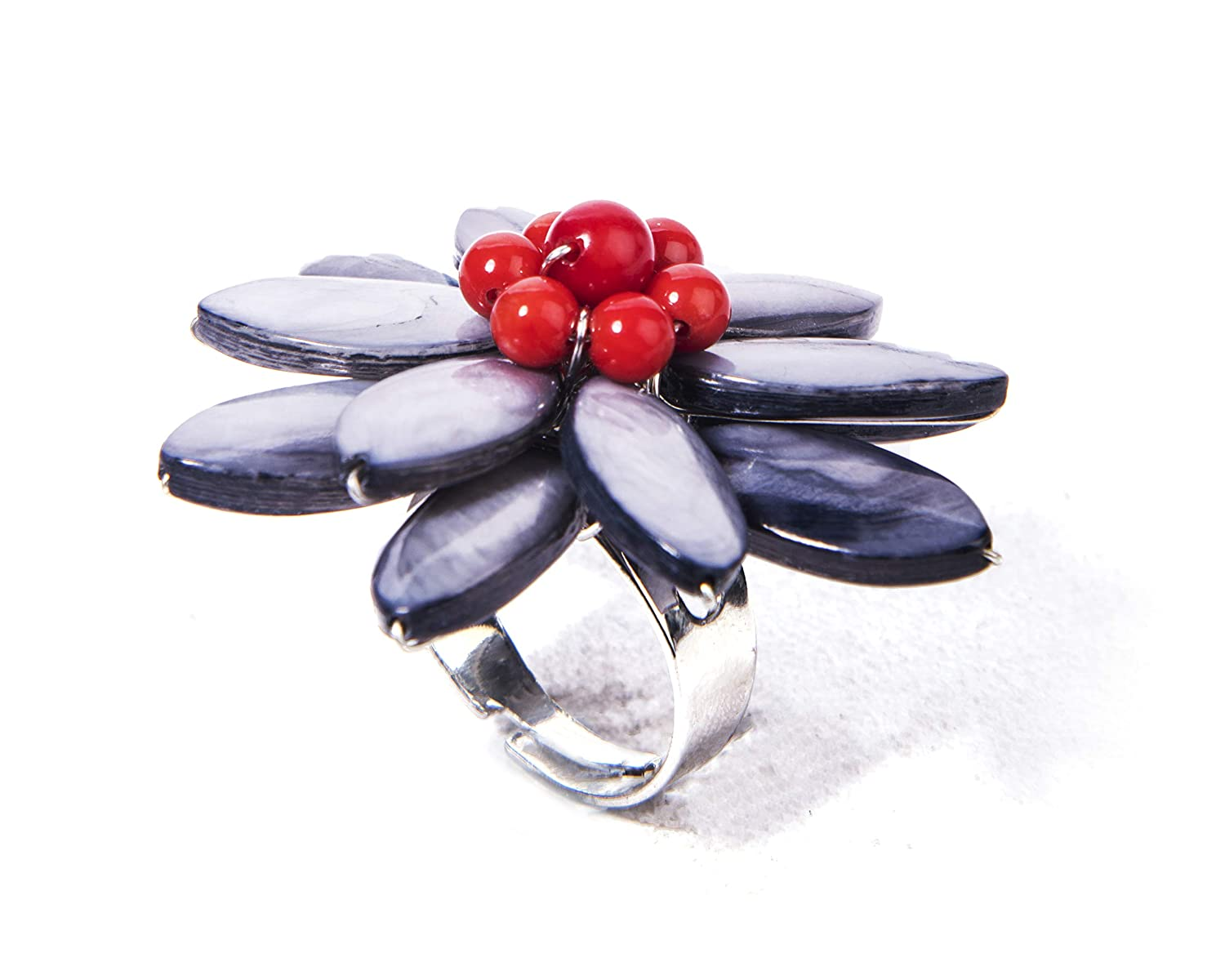 Buy Gempro Gems Jewelry Genuine Mother Of Pearl And Red Coral Gemstones Floral Designer Adjustable Fashion Ring For Women At Amazon In