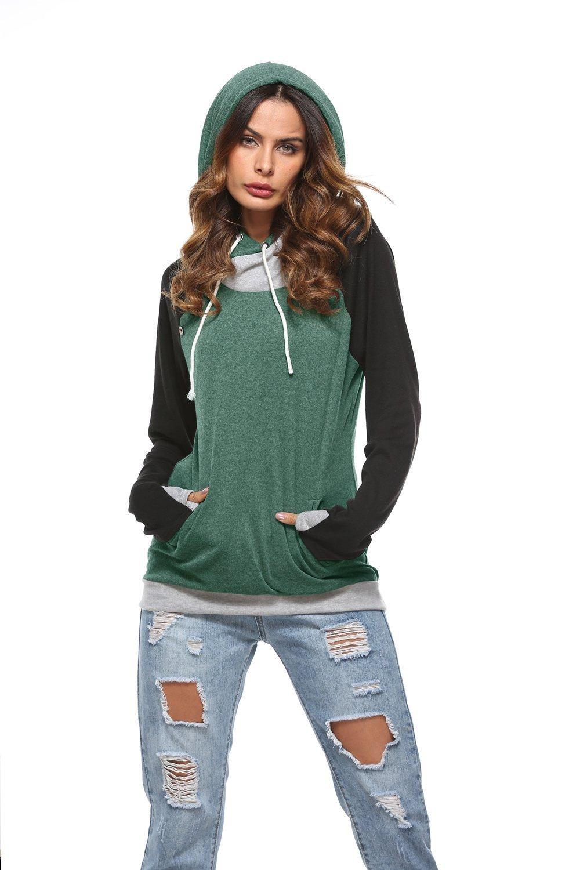Barlver Women Hoodies Sweatshirts Long Sleeve Drawstring Hooded Casual Pullover Tops with Pockets(Green-08 M)